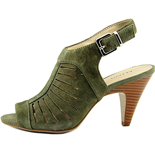 Alfani Womens Primere Leather Open Toe Slingback Classic Pumps, Olive, 6.0 - Leather Open Toe Slingbacks