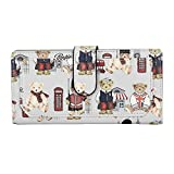 Kukoo Women's Long Leather Wallet Fashion Button Bear Clutch Bag Credit Card Holder Purse