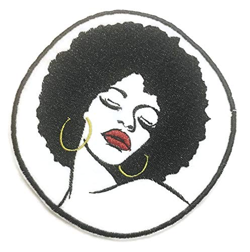 Beautiful African American Woman in Afro and Earrings Embroidered Iron on Patch Applique4 x 4 inches Tall (Black White Gold red)