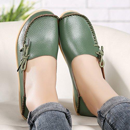 LUUB Frauen Lace Up Loafers Echtes Leder Rindsleder Freizeitschuhe Indoor Wohnung Slip-On Driving Hausschuhe 1.grün