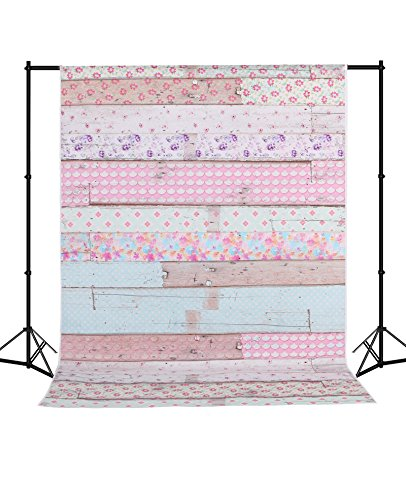 MEHOFOTO Seamless Baby Shower Photography Backdrops Colorful Wood Photo Background Silk 5X7ft