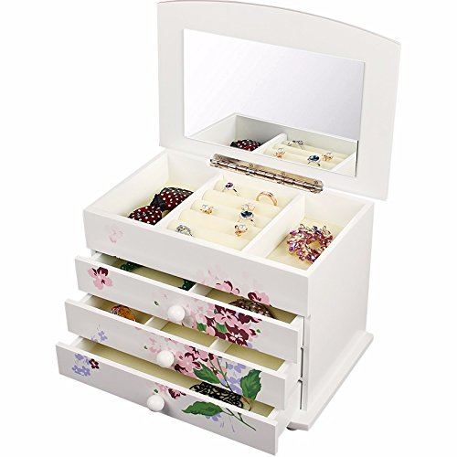 lzzfw Joyero caja de regalo de Navidad caja de almacenamiento de joyería de trompeta de madera caja de acabado de viaje, blanco