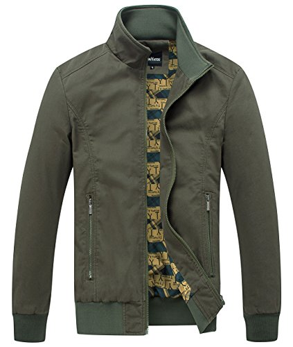 chouyatou Men's Essential Cotton Lightweight Bomber Jacket (Medium, Army)
