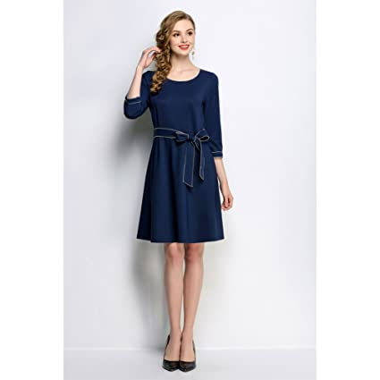 MUSENDA Plus Size Women Blue 3/4 Sleeve Tunic Sashes Bow Dress 2018 Spring Female Office Lady Dresses Clothing Robe Suit Vestido 5XL at Amazon Womens ...