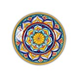 Hand Painted Italian Ceramic Geometric Salad Plate B - Handmade in Deruta