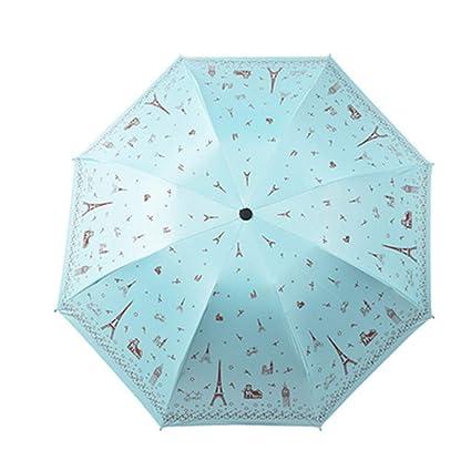 GIRLXV Impreso Paraguas Negro Moda Paraguas Plegable ...
