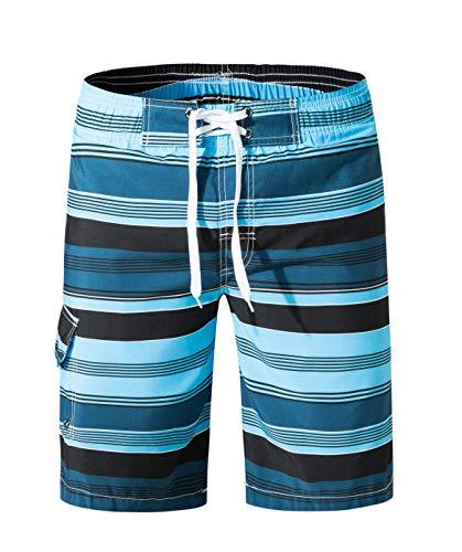 (SHEKINI Men's Board Shorts Swimwear Striped Swim Shorts Swimming Trunks with Mesh Lining (Deep Blue - 07, Large (Waist:32
