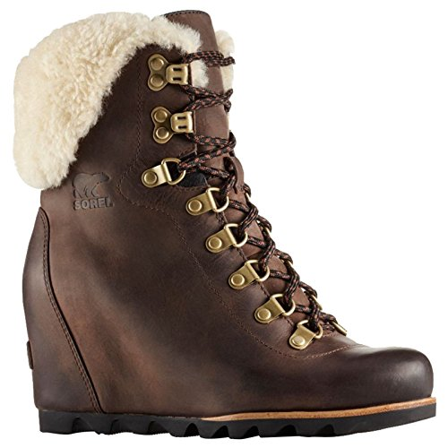 Sorel Women's Conquest Wedge Shearling Tobacco/Black 9 B US