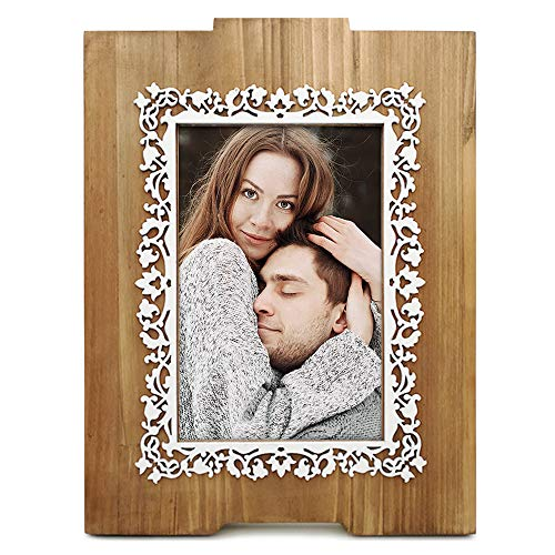 e Frame 4x6, Fantastic Lace Pattern, Laser Cut Dimensional Layered Wood Profile, Tabletop Vertically Display with Real Glass, Natural Wood Color ()