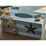 Decorative Vintage Decor Wood Tissue Box Cover Yacht Shell Fishnet Beach Pumping Tray (Starfish)