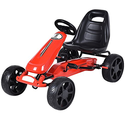 Costzon Go Kart, 4 Wheel Powered Racer Outdoor Toy, Kids Ride On Pedal Car (Red Pedal Car)