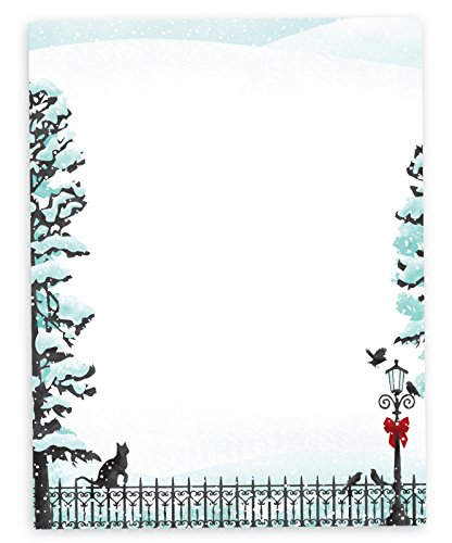 Cat On Fence with Lamppost Winter Scene Christmas Holiday Stationary - 40 Sheets - Made from Premium 70lb Text Paper