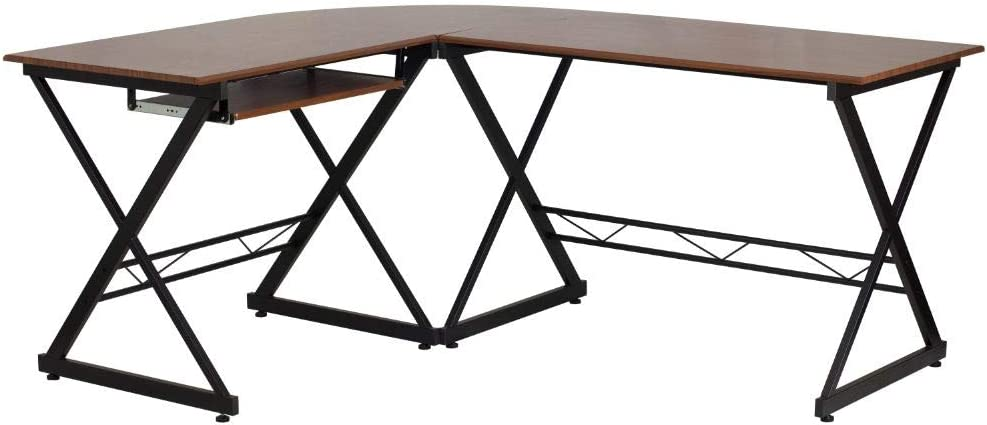 Flash Furniture Teakwood Laminate L-Shape Computer Desk with Pull-Out Keyboard Tray