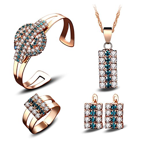 Generic stylish hot _Japanese_and_ Korean fashion jewelry crystal necklace pendant 18k _rectangle_ earrings bracelet s_ rings jewelry _in_ Europe _and_ America
