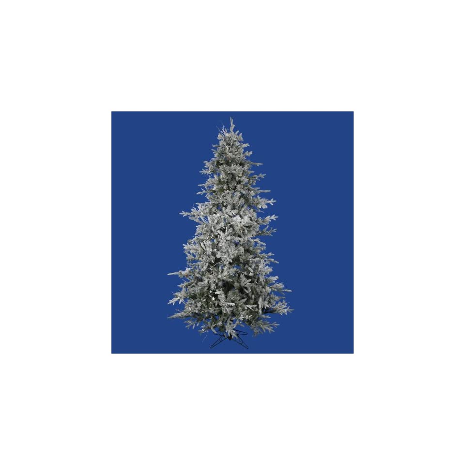 7.5 Slim Snow Flocked Layered Utica Fir Artificial Christmas Tree   Unlit
