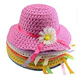 Multifit Pack of 9 Sunflower Straw Hat Tea Party Hat Assorted Sunhat Set