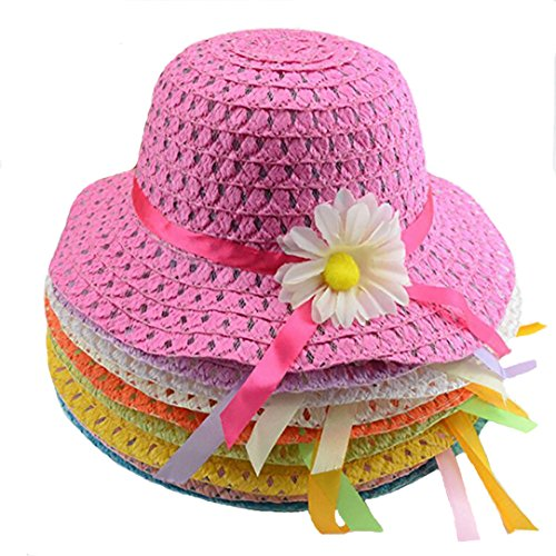 Multifit Baby Girls Pack of 9 Sunflower Straw Hat Tea Party Hat Assorted Sunhat Set (Party Hat Toddler)