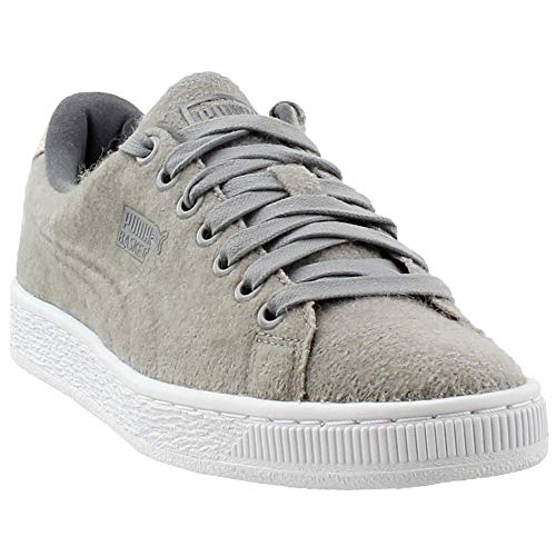 PUMA Men's Basket Classic Embossed Wool Fashion Sneaker, Drizzle-Steel Gray, 10 M US