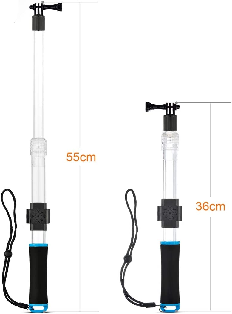 Blue Color : Blue HUIFANGBU Transparent Extendable Self-Portrait Handheld Telescopic Monopod Holder for GoPro HERO6// 5//5 Session //4//3+ //3//2 //1 Full Length Max: 55cm
