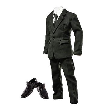 136bbf18 Homyl 1/6 Escala Traje Negro con Zapatos Accesorios para 12'' Figura  Masculina
