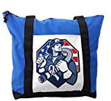 Lunarable Fireman Shoulder Bag, American Theme Firefighter, Durable with Zipper