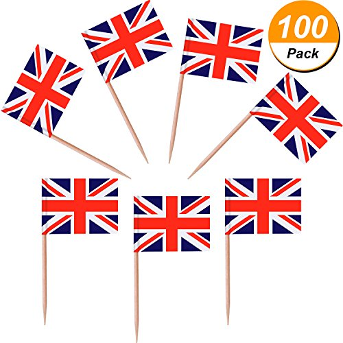 Jovitec 100 Pieces British Flag Toothpicks the Union Jack Flag Cupcake Toppers for Birthday Wedding Baby Shower National Day