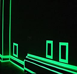 Glow in the Dark Masking Tape - 30 ft x 1 inch - Luminous photoluminescent / luminescent emergency roll of safety egress markers for stairs, walls, steps, exit sign. Glowing pro theatre stage floor