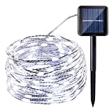 Icicle Solar Fairy Lights, 33ft 100LED Light Sensor Control Flexible Copper Wire Waterproof Decorative Light for Garden, Lawn, Pergola, Backyard, Bush, Gazebo, Porch, Holiday Decorations (White)