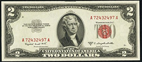 1953 Various Mint Marks Red Seal United States Note Series $2 Extremely Fine US (Seal Dollar Bill)