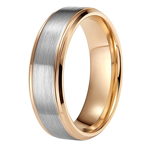 8mm Mens Wedding Bands Rose Gold Tungsten Carbide Ring Two Tone Brushed Comfort Fit Size 11.5