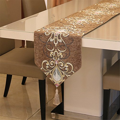 YIH Table Runners For Weddings, 82 Inches By 12 Inches, Flower Pattern Brown Polyester Table Cloth For Party Bridal Baby Shower Holiday Dinner Home Decorations