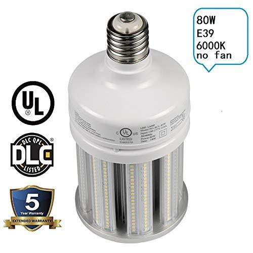 NGTlight 80W LED Corn Bulb Light Replace 320Watt Metal Halide Warehouse High Bay Light,6000K Bright White E39 Mogul Base AC100-277V UL Listed