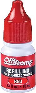 Offistamp Pre-Inked Stamp, Red Ink Refill.33 fl oz, 034517