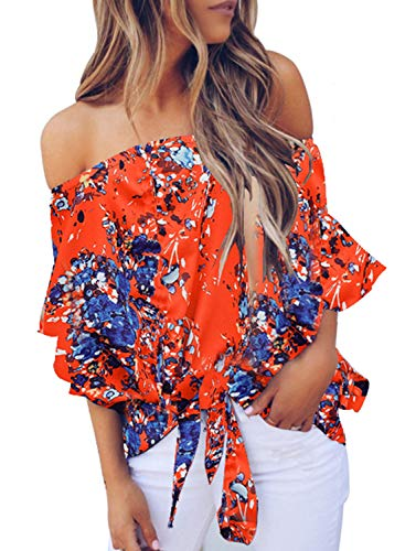 Denim Blouse Shirt - FARYSAYS Women's Cute Boho Floral Off The Shoulder Tops Flare Short Sleeve Tie Knot Casual Loose Blouse Shirt Orange XX-Large