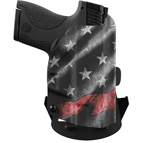 We The People - OWB Holster Compatible with Taser Pulse Gun - Outside Waistband Concealed Carry Kydex Holster (Right Hand, Thin Red Line)