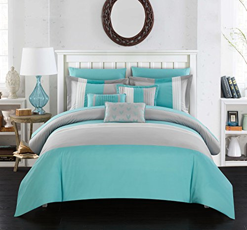 Chic Home Ayelet Comforter Set Color Block Ruffled Bag Bedding-Decorative Pillows Shams Included (10 Piece), King, Turquoise