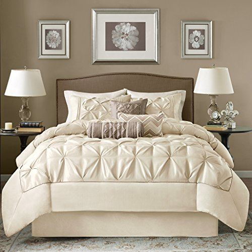 7 Piece Luxurious Pleated Lafayette Themed Comforter Set Cal King Size, Bold Solid Ivory Pleats Hypoallergenic Bedding, Elegant Plush Pieced Pattern, Premium Hotel Aura Modern Style Bedroom, Cream - Lafayette Comforter Set