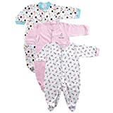 Snap Front Sleep N Play, 3-Pack (3-6 Months, LtPink)
