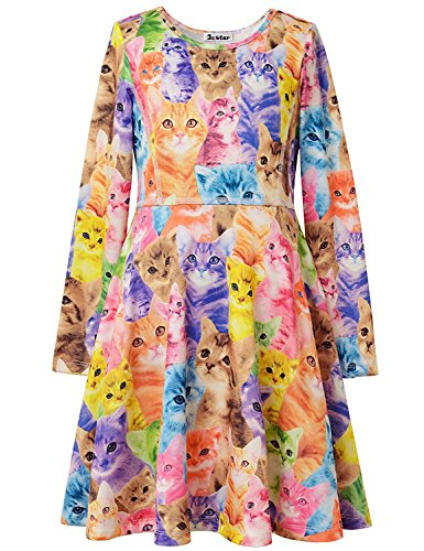 Jxstar Kids Girls' Casual Cat Printed Long Sleeve Clothing Skater Dress 150 Cat Fall 10-11Years Height 57in ()