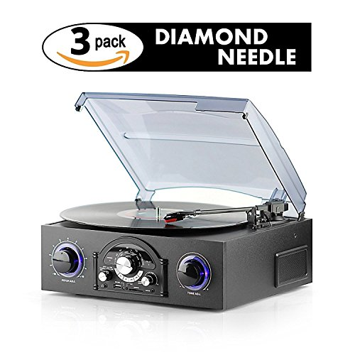 Record Player with Speakers Built-in w/3 Pack Needle - USB Turntable - Easily Transfer Music From Vinyl to USB or SD Card - Dust Off Your Records & Recall Those Sweet Memories - Plug & Play
