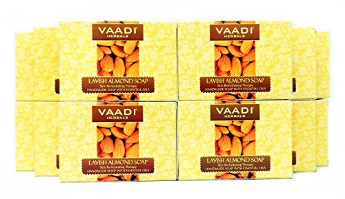 Almond Soap (Almond Oil Bar Soap) with Honey and Aloe Vera Extracts - Handmade Herbal Soap (Aromatherapy) with 100% Pure Essential Oils - ALL Natural - Best Natural Skin Moisturizer - Each 2.65 Ounces - Pack of 12 (32 Ounces, 2 Lb) - Vaadi Herbals (Almond Oil Soap)