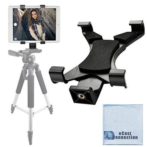 Acuvar Tablet Tripod Mount (Universal) for Apple iPad, iPad Air, iPad Mini & Most Other Tablets + an eCostConnection Microfiber Cloth