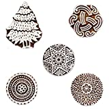 Wooden Printing Block Floral and Christmas Tree Indian Art Wood Craft Set of 5 Heena Tattoo Clay Project Pottery Stamps Blocks