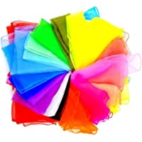 JZK 20 Multi Colour Soft Organza Silk Square Dance Juggling Scarves for Children Kids Girls Party Activities Accessory…