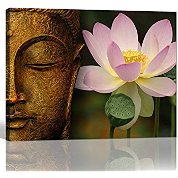 Astounding Amazon Com Buddha Canvas Wall Art Wood Buddha Statue Canvas Home Interior And Landscaping Eliaenasavecom