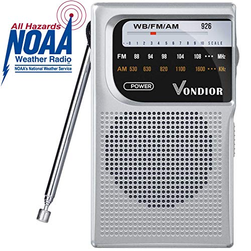 Emergency Weather Radio - NOAA/AM/FM Battery Operated Portable Radio with Best Reception and Longest Lasting Transistor. Powered by 2 AA Battery with Mono Headphone Socket, by Vondior (Silver)