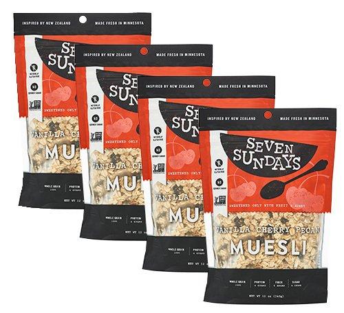 Seven Sundays Gluten Free Muesli - Vanilla Cherry Pecan {12 oz. pouches, 4 Count} - Non-GMO Certified, Hot or Cold Breakfast Muesli