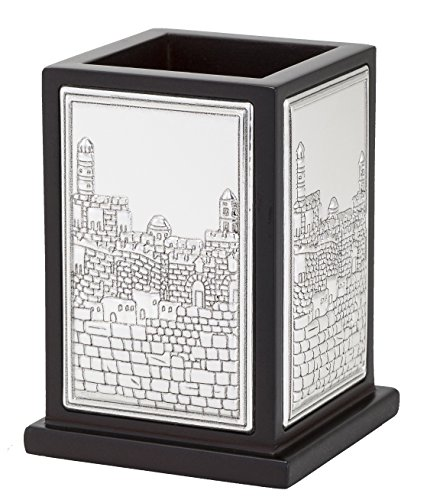 Hazorfim Jerusalem Pens Stand Sterling silver 925 Plated pen pencil stand desk organizer collectibles figurines statues handmade israel (Silver Plated Pen Stand)