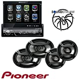 Soundstream VIR-7830B 1 DIN DVD/CD/MP3 Player Flip-Out Up Screen Bluetooth W Pioneer TS-165P + TS-695P Two Pairs 200W 6.5'' + 230W 6x9'' Car Audio 4 Ohm Component Speakers