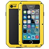 iPhone 6 Plus/6S Plus Case,Mangix Gorilla Glass Aluminum Alloy Protective Metal Extreme Shockproof Military Bumper Finger Scanner Cover Shell Case for Apple iPhone 6 Plus/6S Plus 5.5inch (Yellow)